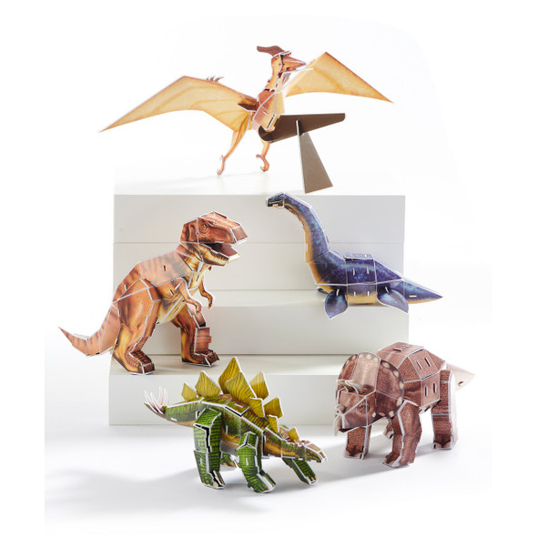 Keep your mind sharp and strengthen your logical thinking with this set of 5 3D dinosaur puzzles.  Comes with 5 assorted designs: Pteranodon, Stegosaurus, Plesiosaurus, Tyrannosaurus, Triceratops. Box size: 8.7x11.6x1.4. Paper, Foam.