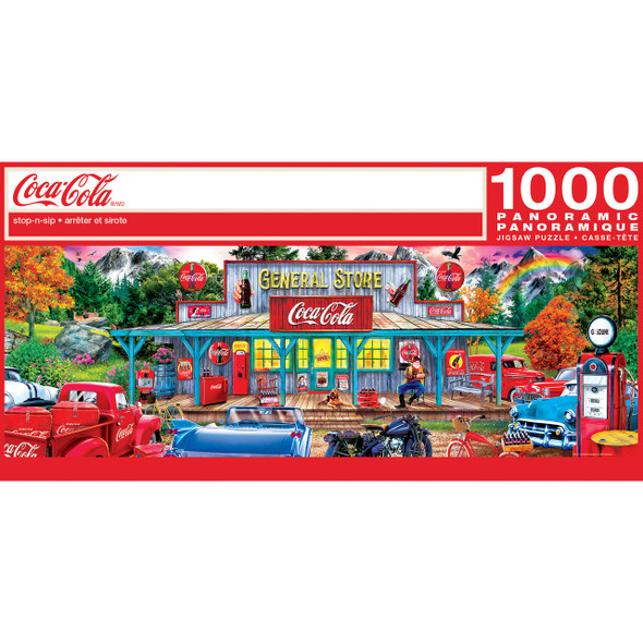 """This MasterPieces Polar Express 13"""" x 39"""" 1000pc Panoramic Puzzle features Coca-Cola Stop-n-Sip store down the country road is a great gathering place. To reduce its impact on our environment, the chipboard used in this puzzle is made of recycled material."""