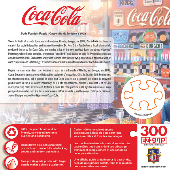 """This MasterPieces 18"""" x 24"""" 300PC EZ Grip Puzzle featuring inside the Corner Soda Fountain friends gather around a refreshing Coca-Cola."""