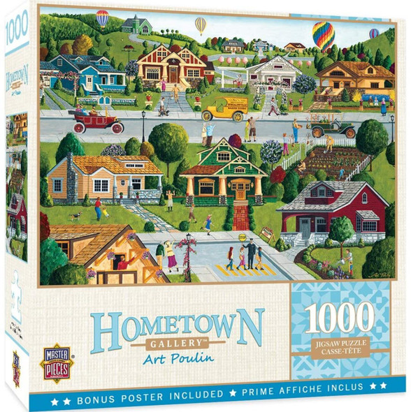 """Artist Art Poulin presents a bucolic vision of the heartland with folk styled bungalows and hot air balloons in a small rural town. Finished puzzle size is 19.25"""" x 26.75"""""""
