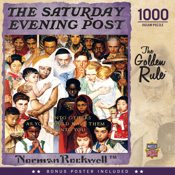 """This MasterPieces Norman Rockwell - Saturday Evening Post 19.25"""" x 26.75"""" 1000pc Puzzle is sure to become a family favorite. Norman Rockwell began his career in 1916 with The Saturday Evening Post. His heartwarming and humorous illustrations of everyday American life appeared on the cover of the magazine for more than 50 years and contributed over 300 paintings. With it's sweet depiction of a little boy running away from home, but first stopping by the local diner for a quick soda, this Norman Rockwell - Saturday Evening Post image is sure to have everyone reminiscing about the good old days. To reduce its impact on our environment, the chipboard used in this puzzle is made of recycled material."""