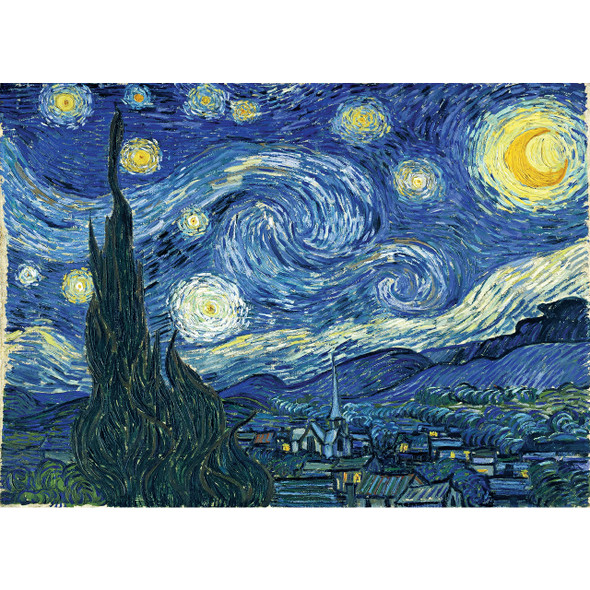 """This MasterPieces 19.25"""" x 26.75"""" 1000pc Van Gogh's classic Starry Night in brilliant colorful detail. This puzzle is made of linen material which makes it easier to grip and see with no-glare. A perfect puzzle for framing and preserving! This linen puzzle is the perfect gift for any puzzle lover who also loves art. To reduce their impact on our environment, the chipboard used in these puzzles is made of recycled material."""