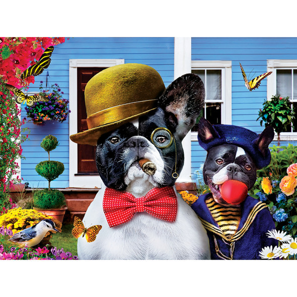 """MasterPieces' 18"""" x 24"""" Memory Lane 300PC EZ Grip Puzzle is the perfect blend of exciting and adorable. Poppa dog teaches his young puppy to be a proper gentleman. The EZ-Grip die-cut used to make this puzzle offers larger puzzle pieces for easier visual and grip that snap together perfectly, without compromising image quality. To reduce their impact on our environment, the chipboard used in these puzzles is made of recycled material."""