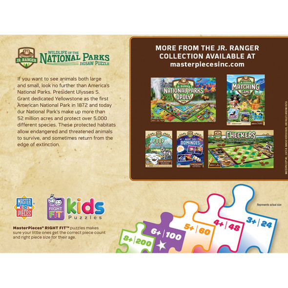 The Wildlife of the National Parks puzzle is a great scenic puzzle for kids and shows them the animals