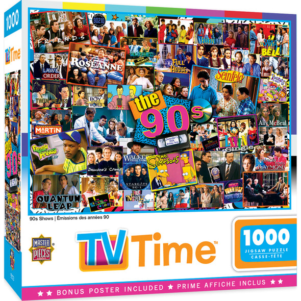1990's puzzle TV Time Masterpieces nostalgic puzzle featuring popular television shows of the 1990's