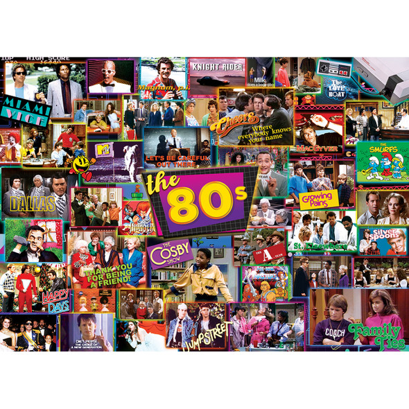"""This MasterPieces 19.25"""" x 26.75"""" 1000pc TV Time Puzzle will help you fondly remember all the popular shows from the 1980's"""