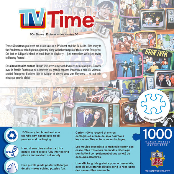 """This MasterPieces 19.25"""" x 26.75"""" 1000pc TV Time Puzzle will help you recall the most popular TV shows from that decade- Iconic scenes and logos in this collage puzzle are a throw-back to favorites of yester-year. The chipboard used in these puzzles is made of recycled material."""