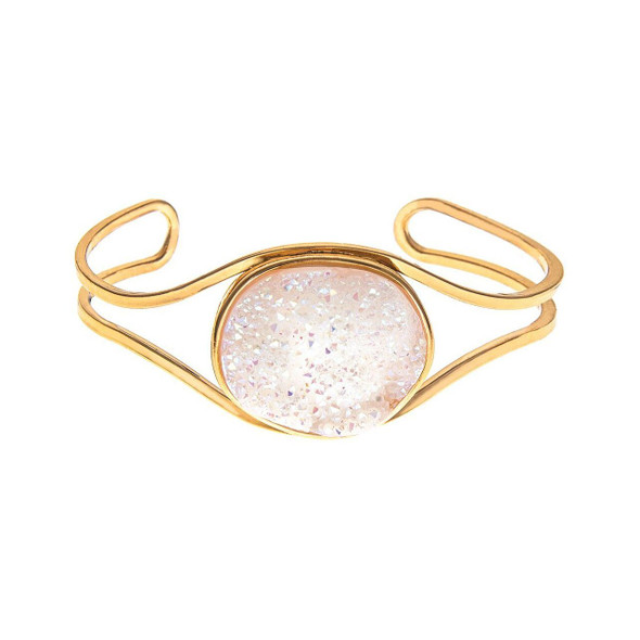 """Gold toned loops frame this large 3/4"""" x 1"""" druzy agate stone cuff bracelet. Instantly adds sparkle and glam to any wardrobe! One size fits most with gentle adjustment."""