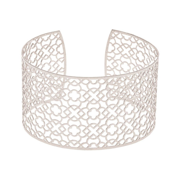 """Lightweight, flexible and versatile, this metal cuff bracelet reminds one of a dark lace, or the exotic balconies of New Orleans. Cuff is 1 1/2"""" thick and has an open back. Gently bend to adjust, and this cuff should fit most people."""