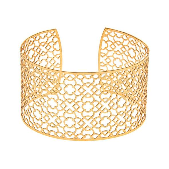 Gold filigree cuff bracelet