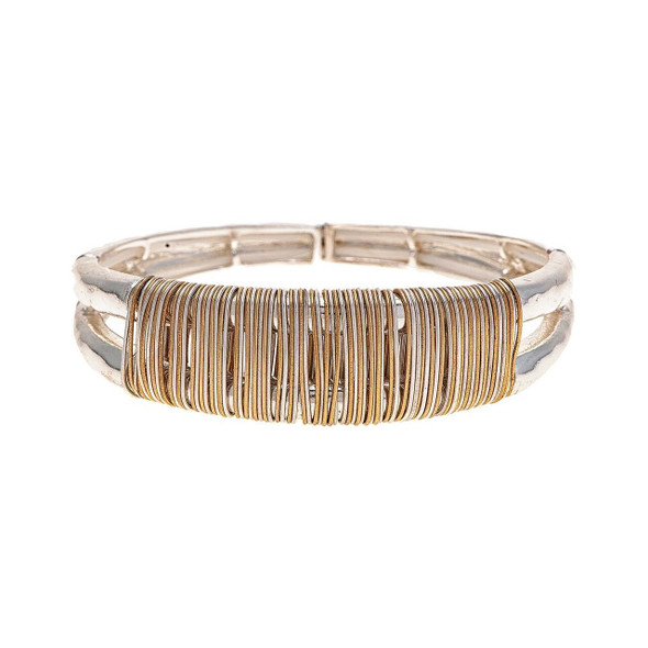 Shiny Silver Split Top Silver and Gold Wire Wrapped Hinged Back Cuff Bangle Bracelet