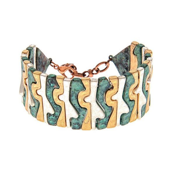 """Patina, gold and silver patterned links nest beside each other giving a serpentine puzzle effect to this striking abstract styled bracelet. Adjusts with chain and lobster clasp to fit most. 1 1/8"""" wide links"""