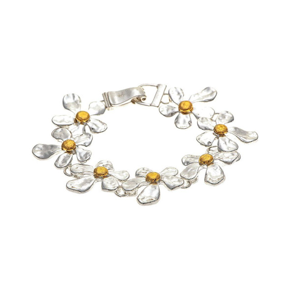 Shiny and chrome fun flowers bracelet has 7 inch wide whimsical five-petaled retro blossoms with a magnetic fold over clasp.