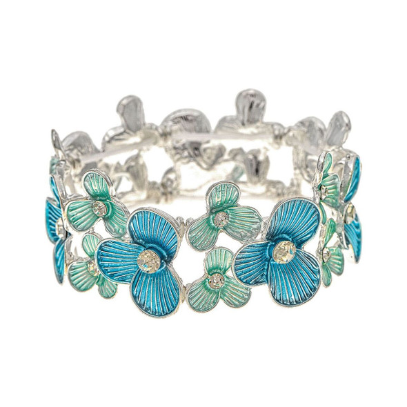 """Bright silvery flowers with 3/4"""" large blue and two 1/2"""" aqua blooms with rhinestone centers alternate around this fun stretch bracelet. Perfect for springtime or summer beach flair. One size fits most."""
