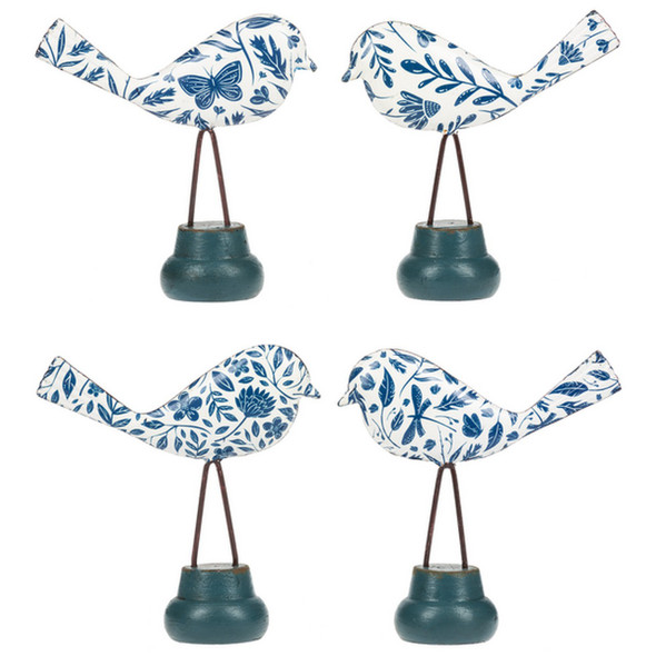 Blue and White Pattern Bird