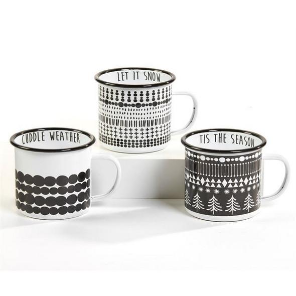 Black and White Christmas Camp Mug