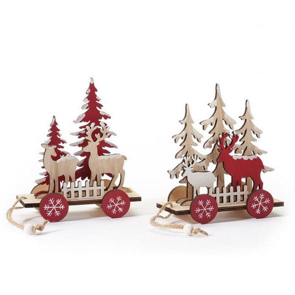 2D Cutout Deer and Tree Wagon Decor