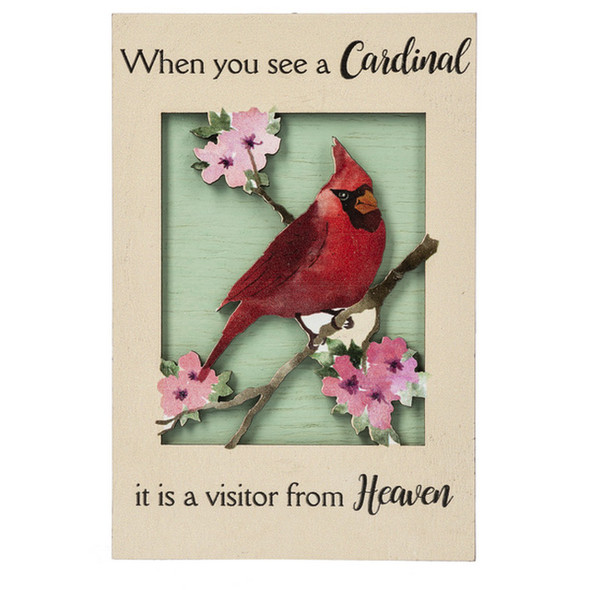 Visitor From Heaven Floral Cardinal Plaque