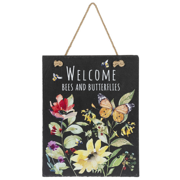 Welcome Bees and Butterflies Garden Sign