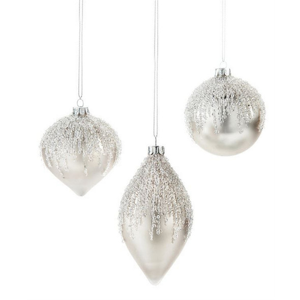 Platinum Beaded Glass Ornament