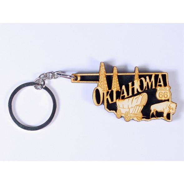 Oklahoma Laser Cut Wooden Key Ring