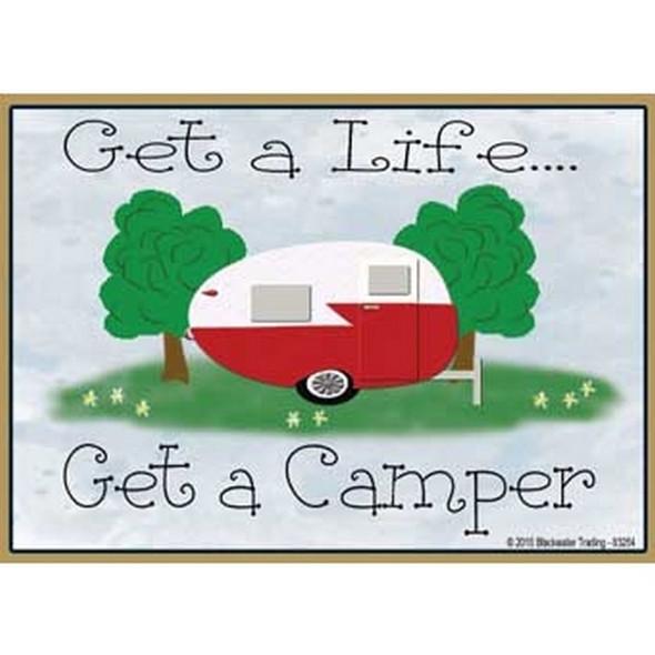 Vintage Get a Life Get a Camper Magnet