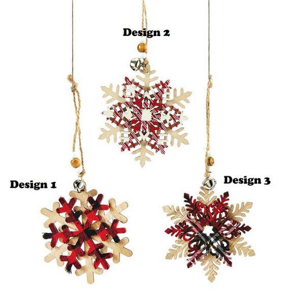Plaid and White Snowflake Ornament