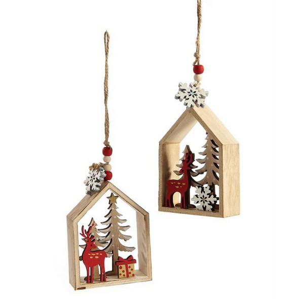 Plywood Deer House Christmas Ornament