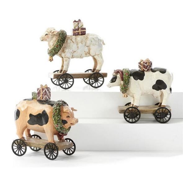 Farm Animal Figurine with Wheels
