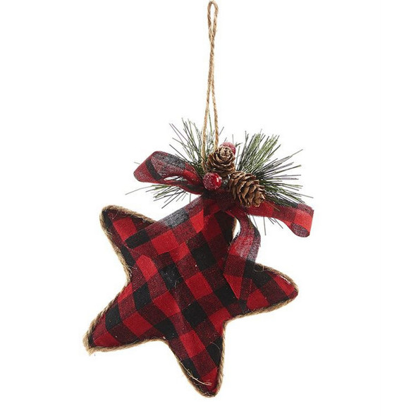 Plaid Star Ornament with Bow