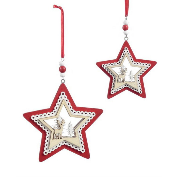 Red and White Star Ornaments Set of 2