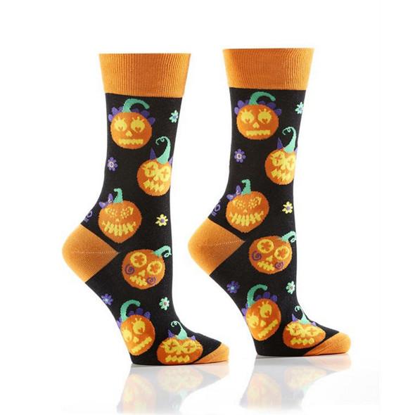 Womens Pumpkin Crew Socks