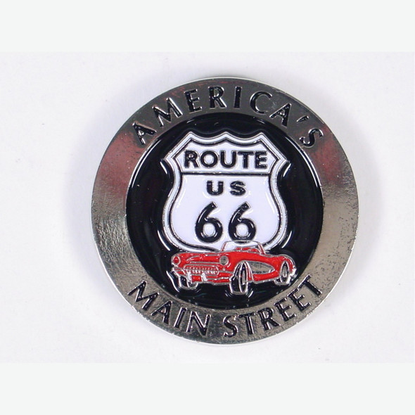 Route 66 Bi Level Round Metal Magnet