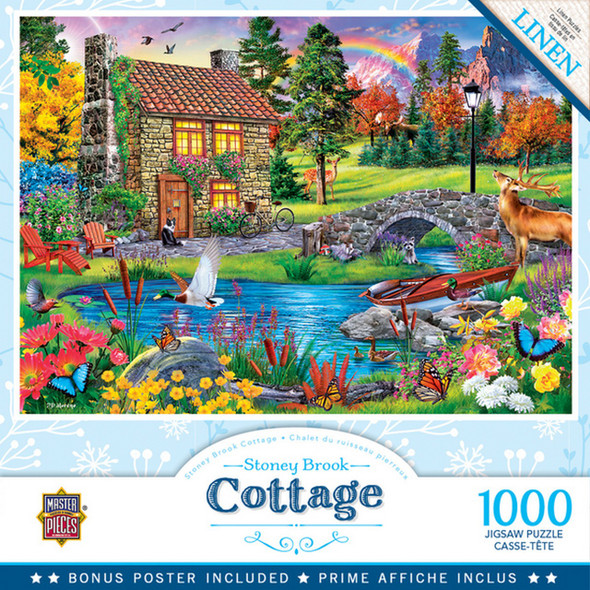 Flower Cottages - Stoney Brook Cottage 1000 Piece Jigsaw Puzzle