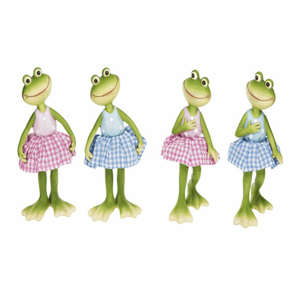 "Adorable frogs wearing colorful spring gingham dresses. One of four assorted styles, each about 3""W. x 31/2""D. x 7""H."