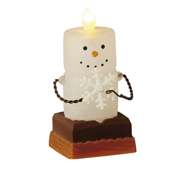 Collectible Marshmallow S'more holds a snowflake and lights up inside with included battery.