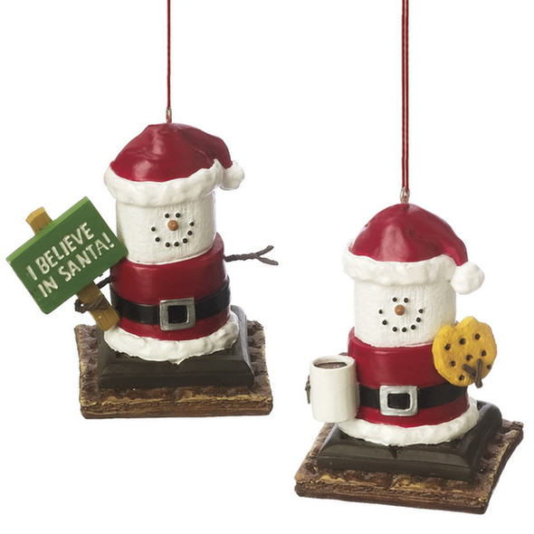 "Smores Santa with Cookie and Mug or with ""I Believe in Santa"" sign.  Price is for one of the two ornaments. Dimensions: 2.75"" L. x 1.875"" W. x 2.625"" H. x 0.125 lb. w"