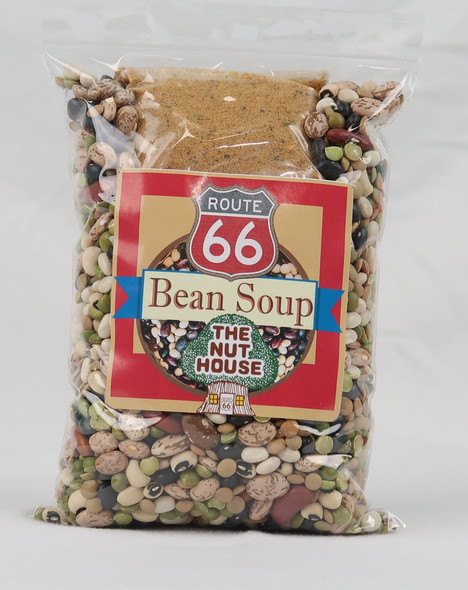 The famous Nut House bean soup packaged and ready for you to take home and enjoy.
