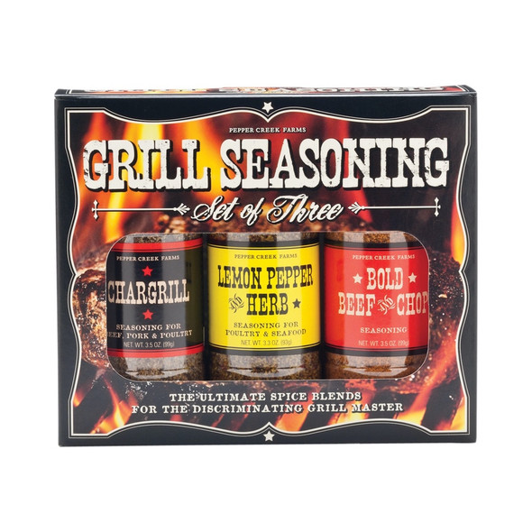 Chargrill Seasoning Ingredients: Salt, Spices, Dehydrated Garlic, Sugar, Dehydrated Onion, Caramel Color*, Red Bell Pepper, Parsley, Soybean or Cottonseed Oil, Smoke Flavors, Extractives of Paprika, Silicon Dioxide added to Prevent Caking. *May Contain up to 30 PPM Sulfites. Lemon Pepper Herb Ingredients: Salt, Black Pepper, Citric Acid, Dehydrated Garlic, Sugar, Lemon Peel, Dehydrated Onion, Spice, Natural Flavor, FD&C Yellow #5 Lake, Calcium Silicate added to Prevent Caking. Bold Beef & Chop Seasoning Ingredients: Salt, Spices, Pepper, Citric Acid, Dehydrated Garlic & Onion, Sugar, Spice, Natural Flavor, FD&C Yellow #5 Lake, Calcium Silicate added to Prevent Caking. This product is packaged on equipment that makes products containing wheat, eggs, milk, soy and tree nuts.