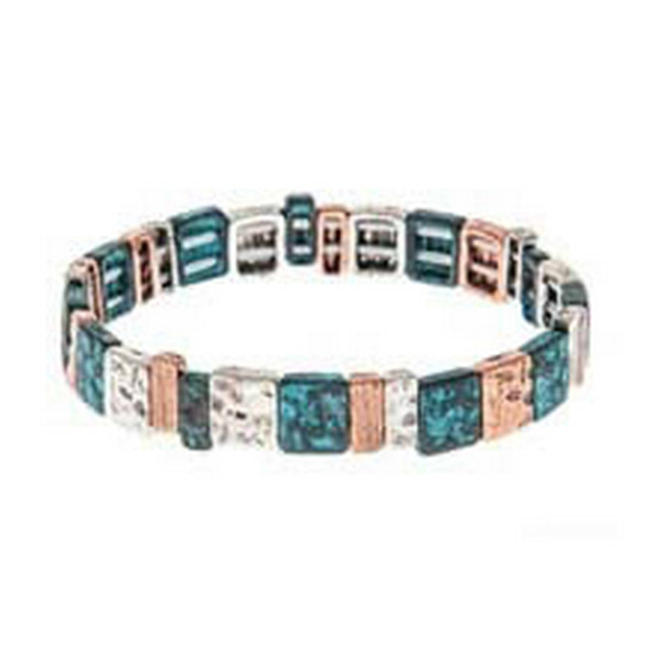 Copper, Patina Green and Silver Hammered Lined Textured Squares and Rectangles Stretch Bracelet