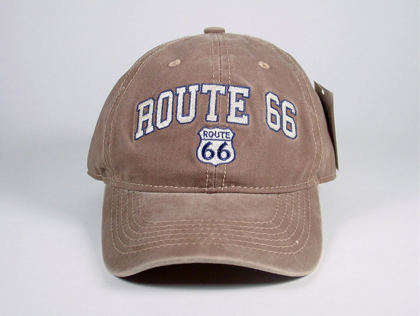 Classic khaki ball cap with washed color and embroidered insignia.