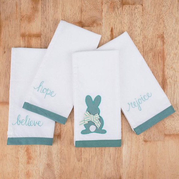 "These bunny napkins are the perfect addition to your Easter decor and table settings! Handmade in a fair trade factory. Napkins Measure 20""x 20"""