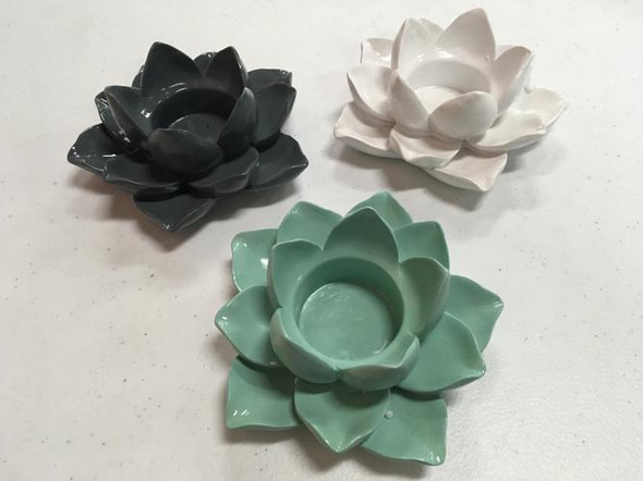 Lotus Flower Candle Holder in one of three assorted colors: white, gray, turquoise.  Sold individually.