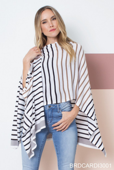 Complete a look with this flattering loose flowing wrap-- patterned with vertical black white and brown stripes for extra flair.