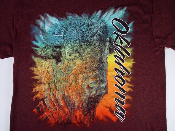 """An artistically rendered bison with a rainbow of watercolor accents. """"Oklahoma"""" in script vertically down left side of shirt."""