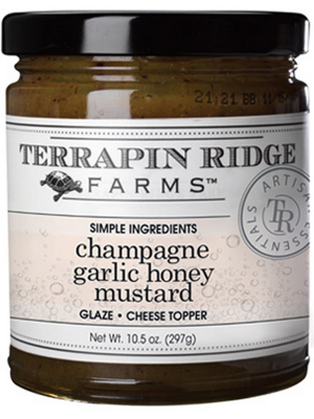 The robust flavor of garlic, mellow champagne, and sweet and tangy honey mustard are the perfect combination for a tasty and versatile mustard. Perfect pork loin or grilled chicken glaze. Add to sauces and vinaigrettes. Fantastic for cole slaw. Delicious on sandwiches or with cheeses.