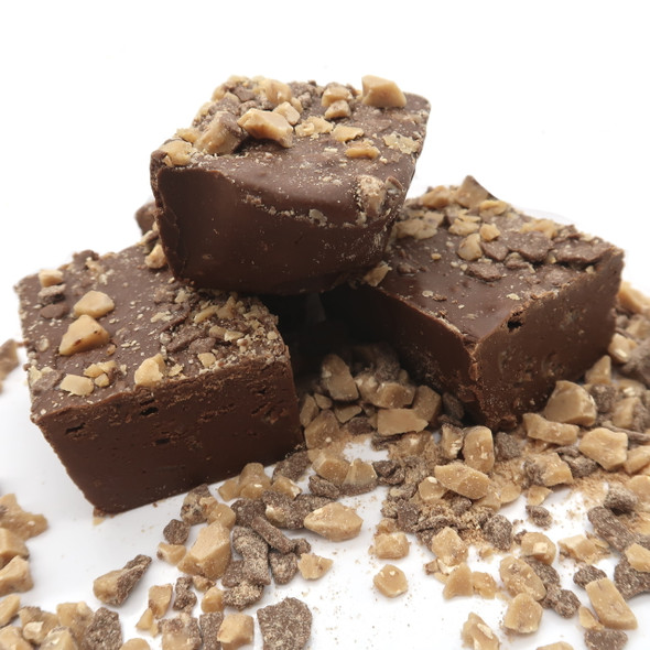 Creamy chocolate fudge topped with crushed pieces of Heath English Toffee is a customer favorite!