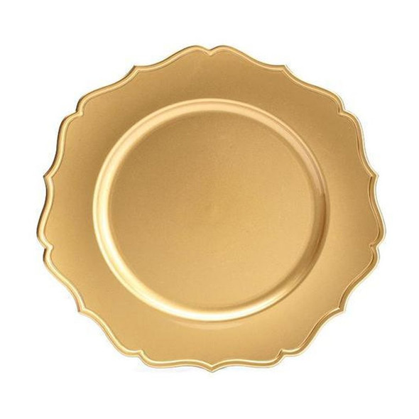 """Handwash only/Décor purposes only. Decorative heavy acrylic gold plate charger with raised trim. 3/4"""" H x 13"""" W x 13"""" D. Sold individually."""