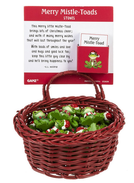 Little mistle-toad stones have cute Santa style hats and fit right in your pocket.