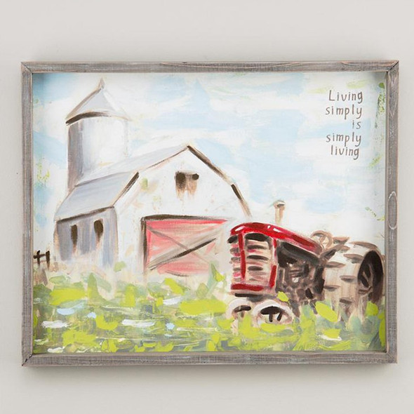 """""""This barn and tractor framed canvas is a beautiful way to portray the beauty of the simple life! Complement your kitchen, living room or any wall in your house!"""" Measures 20"""" x 16"""""""